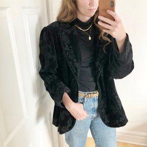 Stunning Vintage Parisian Velvet All Over Floral Embroidery Blazer Jacket Coat